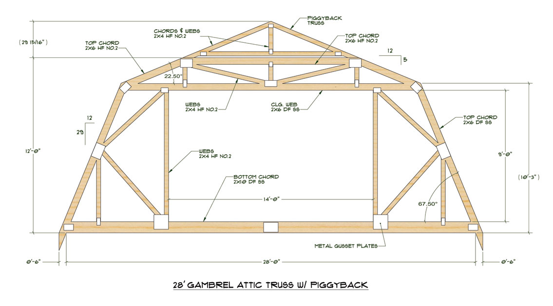 Gambrel roof with attic for 40 foot roof truss