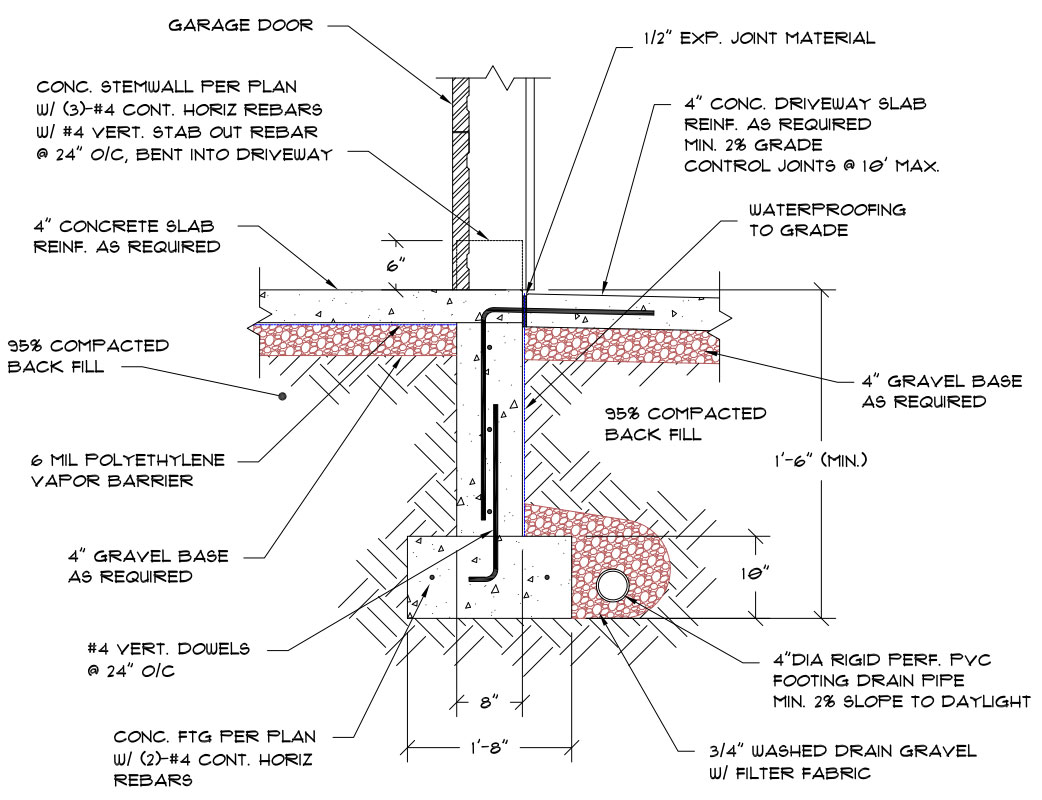 Basement Bathroom Floor Plans Connecting Driveway To Foundation With Rebar Structural