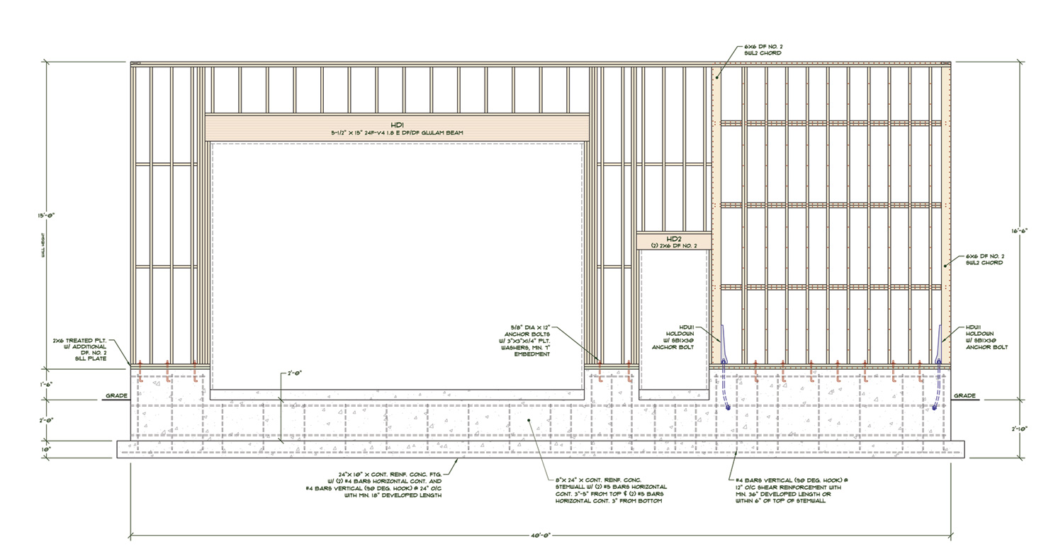 Large garages structural engineering other technical for 12 foot garage door rough opening
