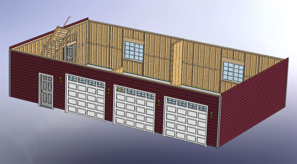 48x28 garage with attic and six dormers for Pre manufactured trusses