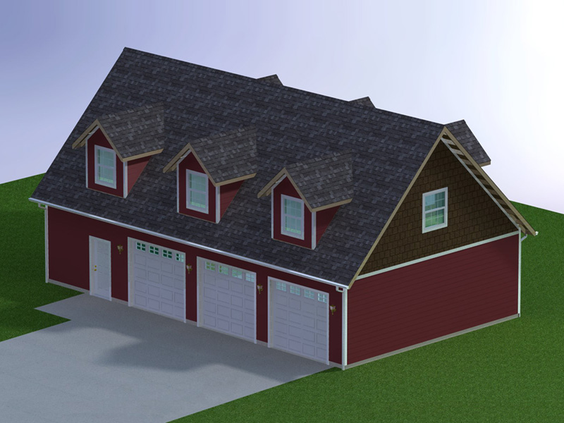 48 X 28 Three Car Garage With Attic