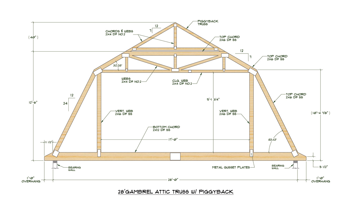 10 x 12 gambrel shed plans 20x24 cabin sheds nguamuk for Standard garage roof pitch