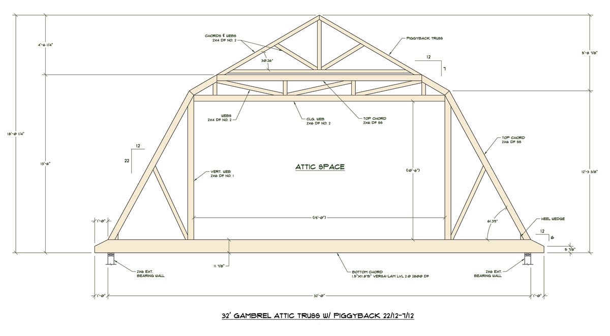 Trusses gambrel room in attic joy studio design gallery for Gambrel barn prices
